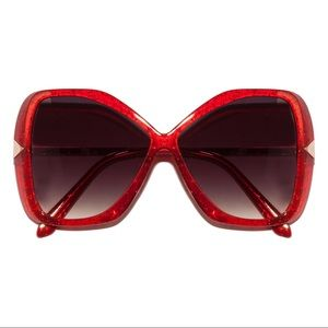 Accessories - Glitter Glam Butterfly Red Crystal Sunglasses